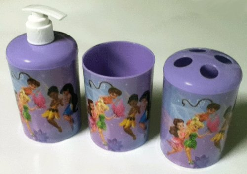 3 Pc Disney Pixies Bath Set - Dispenser - Toothbrush Holder - Cup