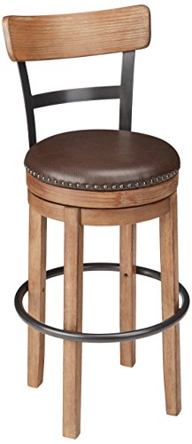 Ashley Furniture Signature Design - Pinnadel Swivel Bar Stool - Pub Height - Light Brown - Height Leather Bar Stool