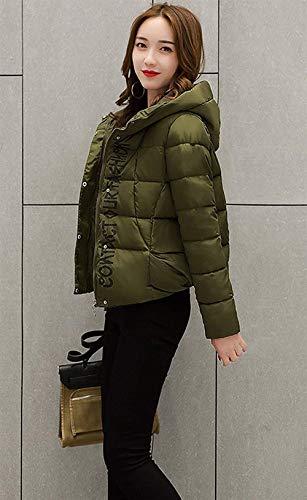 Vintage Fashion Piumini Slim Elegante Casual Fit Giacche Autunno Donna Invernali Dunkelgrün Trapuntata Giovane Digitale Giacca Cappotto Cappuccio Trapuntato Cerniera Stampato Con Mantello vUwq7FOCx