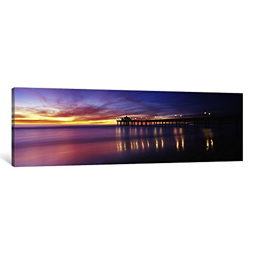 iCanvasART 1 Piece Reflection of a pier in water, Manhattan Beach Pier, Manhattan Beach, San Francisco, California, USA Canvas Print by Panoramic Images, 48 x 16
