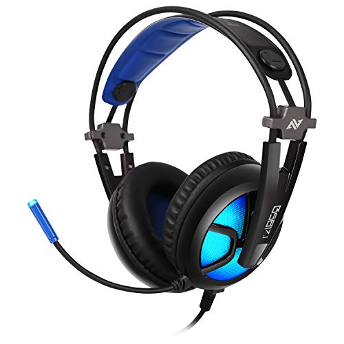 ABKONCORE – B581 7.1 Channel Virtual Surround Sound USB Gaming Headset with High Sensitive Adjustable Omnidirectional Microphone, Glaring and Breathing LED Lights for Gamers (Black & Blue)
