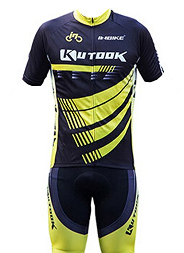 INBIKE Men's Summer Breathable Cycling Jersey and 3D Silicone Padded Shorts Set Outfit, Yellow, (80 S Outfit)