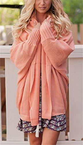 Donna Autunno Huixin A Rosa Fashion Primaverile Cappotto Ruvida Maglia Manica Abbigliamento Relaxed Libero Tempo Eleganti Outerwear Pipistrello Monocromo Comodo Giacca dYnxrHqTY