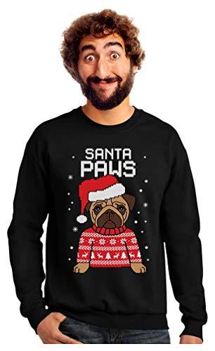 Santa Paws Pug Ugly Christmas Sweater Dog Sweatshirt Large Black (Dogs Jumpers Christmas)