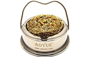 aoyue soldering iron tip cleaner with brass wire sponge no water needed home. Black Bedroom Furniture Sets. Home Design Ideas