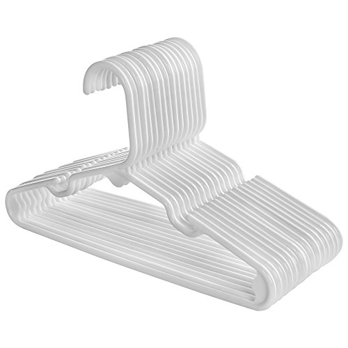SONGMICS Plastic Children's Hangers 30 Pack - Premium Quality With Widened Grooves and Reinforced Ends White UCRP06W-30