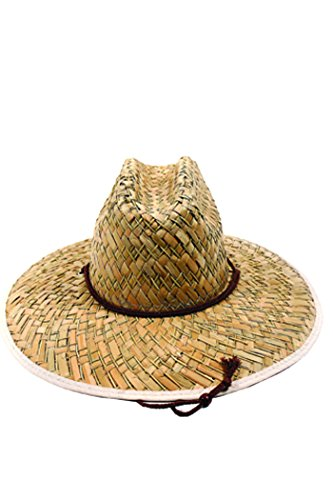 Men's Straw Hat For Outdoors or Gardening Sun Protection, Flat Weave