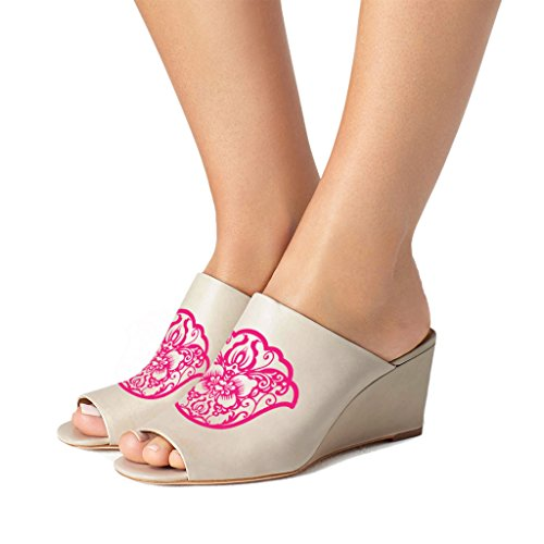 FSJ Women Sexy Peep Toe Mule Style Wedge Sandals Slip On Shoes For Casual Size 4-15 US Taupe-magenta Pattern free shipping cheap buy cheap deals outlet nicekicks sale pick a best yHejC0