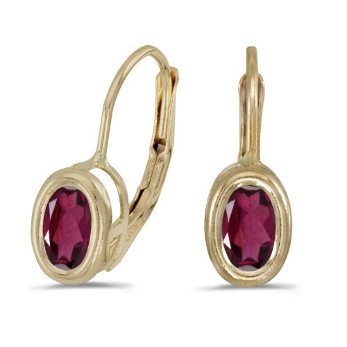 Jewels By Lux 14k Yellow Gold Studs Genuine Red Birthstone Oval Rhodolite Garnet Bezel Lever-back Earrings (0.98 Cttw.)