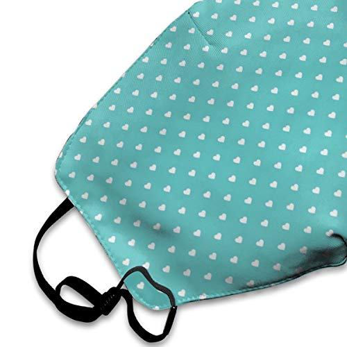 NOT Turquoise Polka Dot Hearts Personality Lovely Unisex Dust Mask, Suitable for Young Men and Women, Ski Bike Camping Windproof Motorcycle Face Mask