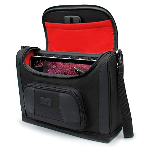 USA GEAR Small Messenger Bag Compatible with Surface Pro 7 - Shoulder Bag for Surface Pro 6, Surface Pro X - Travel Tablet Bag Also Fits Surface Pro Accessories, Charger, Keyboard, Mouse, More (Red)