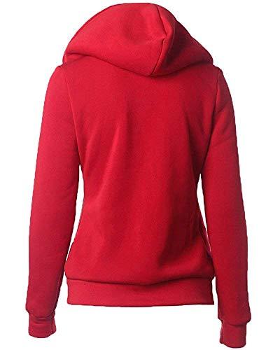 fermeture couleur Veste Zhrui Fit éclair femmes pour rouge avec Warm 37inch 39 à taille Fit buste XL capuche Slim gwxYSdx7