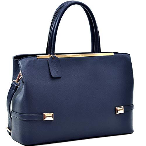 Dasein Frame Tote Top Handle Handbags Satchel Leather Briefcase Shoulder Bags Purses (8895-Navy)