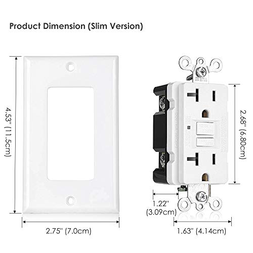 [10 Pack] BESTTEN 20-Amp GFCI Outlets, Slim GFI Receptacles with LED Indicator, Self-Test Ground Fault Circuit Interrupters, Decor Wall Plates Included, UL Listed, White by BESTTEN (Image #6)