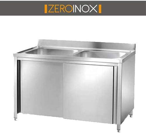 ZeroInox Lavabo armadiato 2 cubas Sin escurridor – con Puertas correderas – Profundidad 60 & 70 – Varias Medidas – Acero Inoxidable aisi 304 – Profesional: Amazon.es: Hogar