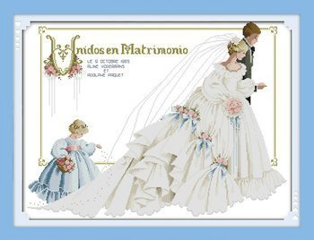Joy Sunday Cross Stitch kits, Wedding(3) ,14CT Counted, 65cm× 50cm or 25.35'× 19.5' 65cm× 50cm or 25.35× 19.5 NKF