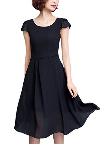 Tanming Women's Cap Sleeve Below Knee Fit And Flare Pleated Chiffon Midi Dress (Large, Black)