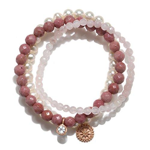 Satya Jewelry Womens Rhodonite Rose Gold Mandala Stretch Bracelet Set, One Size by Satya Jewelry (Image #2)