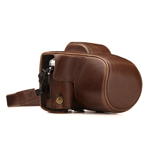 MegaGear Olympus OM-D E-M10 Mark III (14-42mm) Ever Ready Leather Camera Case and Strap, with Battery Access - Dark Brown - ()