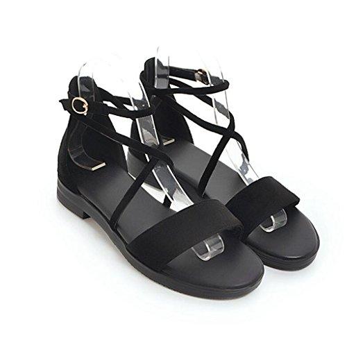 Noir Bout en À Semelle Ouvert Antidérapante Caoutchouc Femme Chaussures Sandales Chaussures Plates Femelle De Givrées nwxYgq5q46
