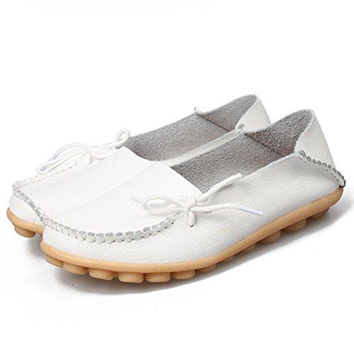 MatchLife Damen Vintage Leder Flach Pumpe Casual Schuhe Weiß