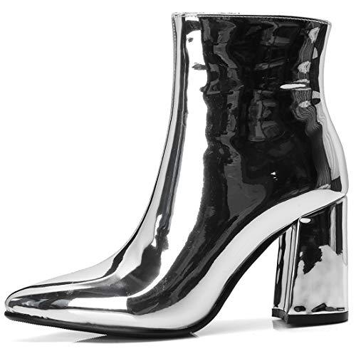 Pointu Zip Ye Bottes Bloc Pour Bout Chaussure Haut Talon Bottines Femme Heels Chaude Vernis Shoes Chunky Argent Mariage Winter Hiver Courtes 00zfrq