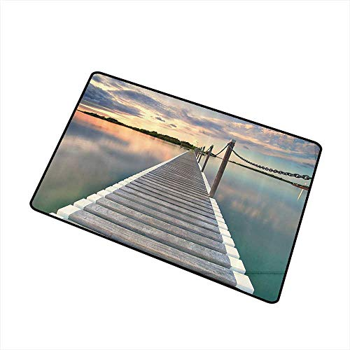 Mdxizc Throwing mat Wooden Bridge Decor Collection Pontoon Jetty Pier Deck Across The Water at Sunset Picture W20 xL31 Hard and wear Resistant Ivory Blue Peach -