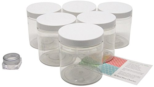 Clear 16 oz Plastic Jars with White Lids (6 pk) with Balm Jar - PET Round Refillable Containers