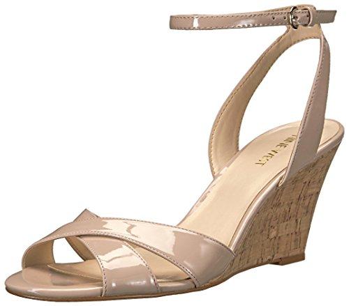 Nine West Women's Kami Wedge Sandal, Natural Patent, 8.5 M US 25026471