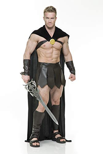 Charades Men's Spartan Warrior Costume, Brown/Black, Medium