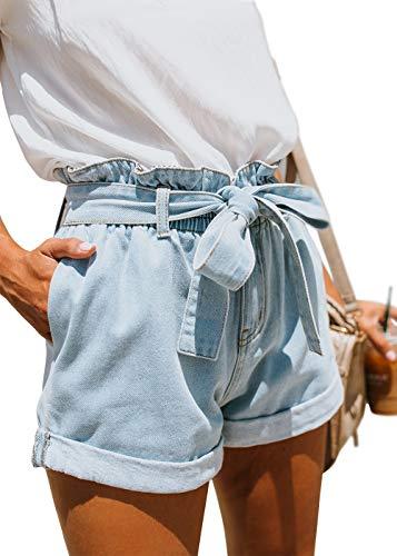 Pofash Women's Denim Paper Bag Waist Jersey Walking Shorts Jeans with Waist Tie Pockets Light Blue X-Large