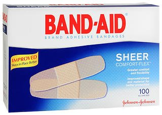 BAND-AID Bandages Comfort Sheer 3/4 Inch 100 Each (Pack of 2) (Band Aid Sheer Bandages)