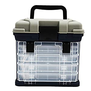 Ruixf Portable Fishing Tackle Box Organiser Case, Storage Carry Case with 4 Adjustable Compartment...
