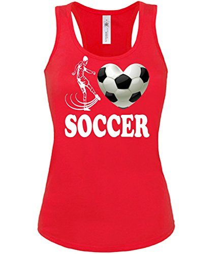 Sport - I Love Soccer - mujer camiseta Tamaño S to XXL varios colores S-XL Rojo