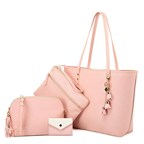4pc-s Handbags for Women- Crossbody Shoulder bags Tote Satchel Hobo Purse Set