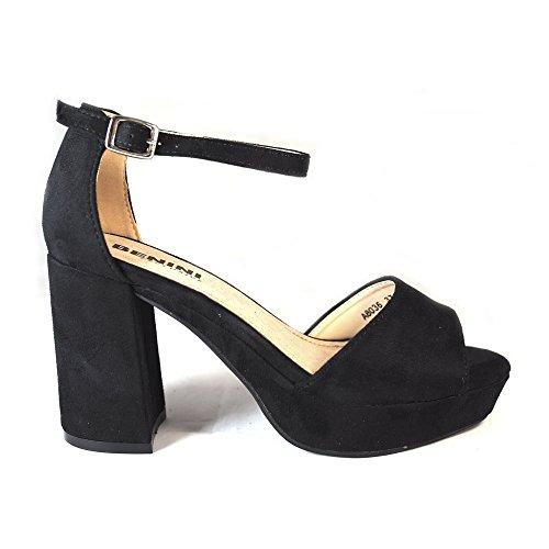 La Valenciana Sandalia Para Mujer Benini A8036 con Gran Tacón Cómodo y Plataforma, Cierre EN Hebilla Color Negro Negro