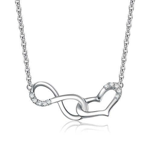 Galmour Style INFHRT-WGLD18CZ Infinity Heart Cubic Zirconia Pendant Necklace 18K White Gold on Sterling Silver -