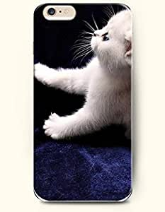 iPhone 6 Plus Case 5.5 Inches Little White Cat Sitting on the Purple Flannel - Hard Back Plastic Case OOFIT Authentic