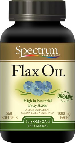 Spectrum Essentials Flax Oil, Omega 3, 1000 mg, 250  Softgels Bottle