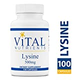 Vital Nutrients – Lysine 500 mg – Supports Immune Function and Normal Arginine Levels – 100 Capsules