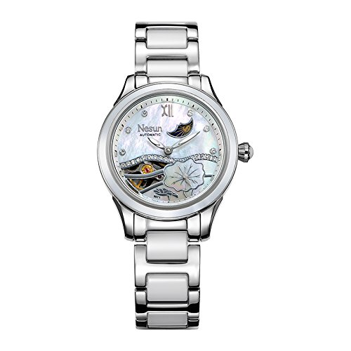 Watch Expedition Military Field (Womens Steel Mechanical Watch with Mother of Pearl of Dial Ceramic Band (White))