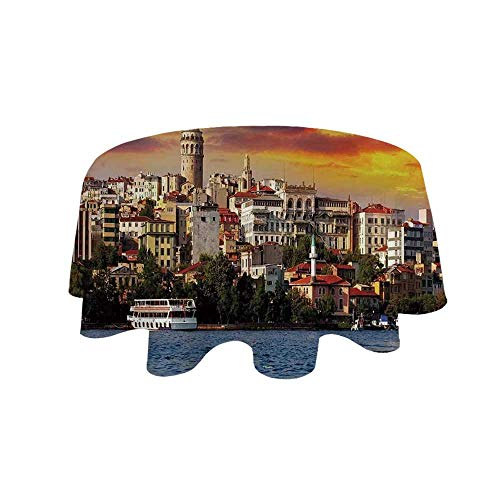 YOLIYANA Cityscape Waterproof Round Tablecloth,Istanbul at Sunset with The Sea Capital of Byzantine Old Roman Ancient Tower Print for Living Room,19.6