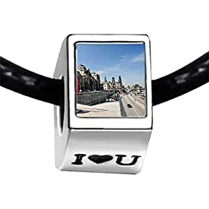 Chicforest Silver Plated Travel view market square in Bremen Germany Photo I Love You Charm Beads Fits Pandora Bracelets