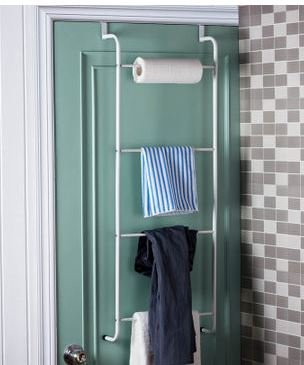 Space Saving White Metal Over the Door Towel Rack / Clothing Hanger