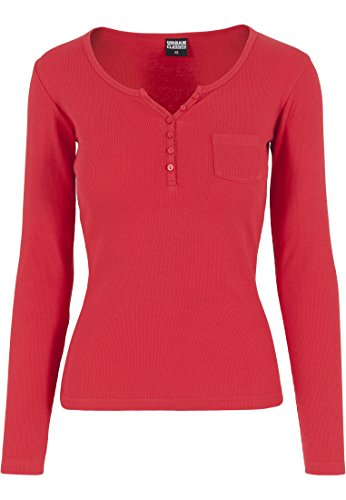Urban Classics TB1036 mujeres Rib bolsillo L/S T-shirt-Camiseta de manga larga para mujer Rouge Feu
