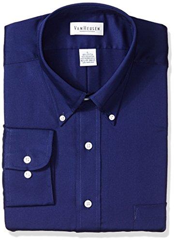 Van Heusen Regular Fit Twill Solid Button Down Collar Dress Shirt, Navy, Large