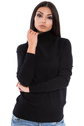 (KNITTONS Women Italian Merino Wool Turtleneck Sweater Long Sleeve Pullover (X-Large, Black))