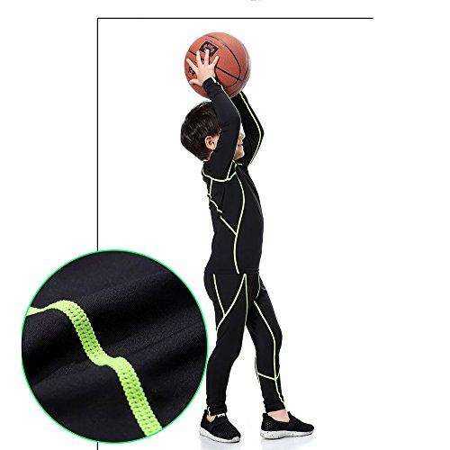 Minghe Boy's Base Layer Thermal Underwear Tops & Bottom Set 2 pcs Fleece Lined Long Johns