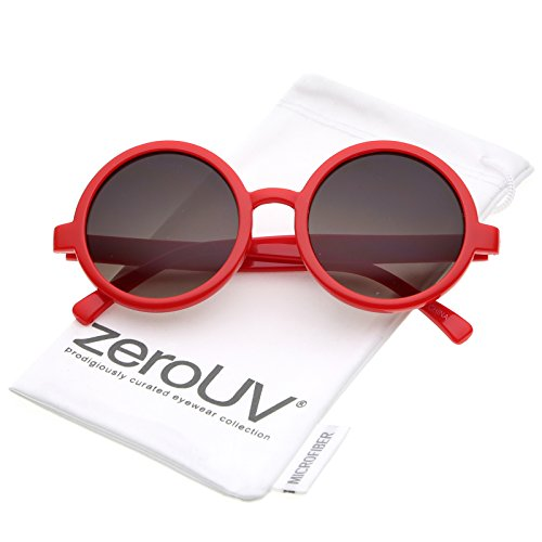 Classic Retro Horn Rimmed Neutral-Colored Lens Round Sunglasses 52mm ()
