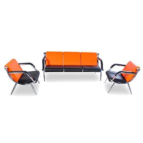 BORELAX 3PCS Office Reception Chair Set Orange and Black PU Leather Waiting Room Bench Visitor Guest Sofa Airport - Room Waiting
